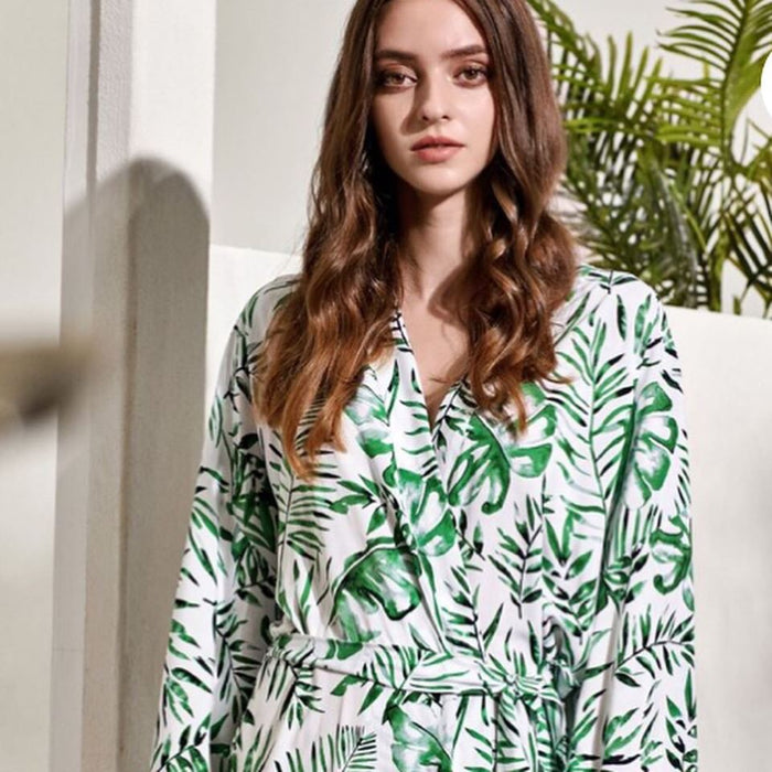 SADIE cotton robes with tropical palm leaves The Bespoke Wedding Gift Company