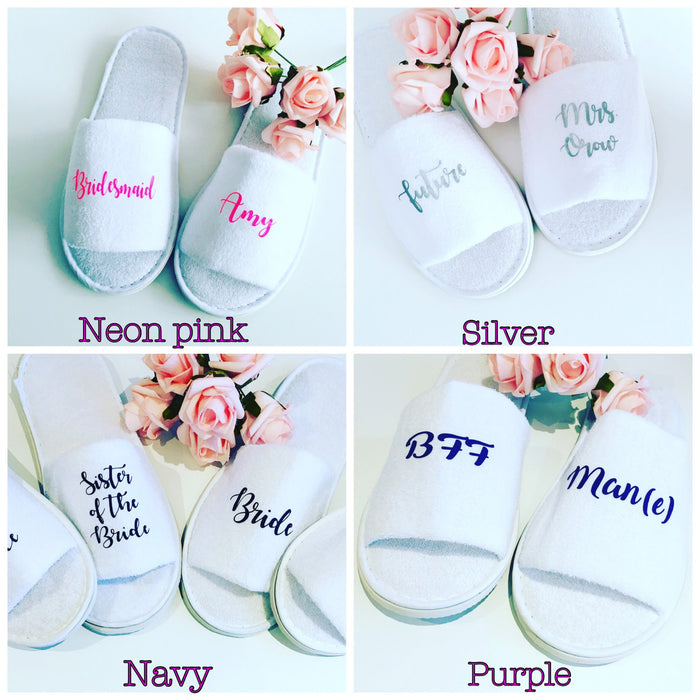 Personalised wedding slippers The Bespoke Wedding Gift Company