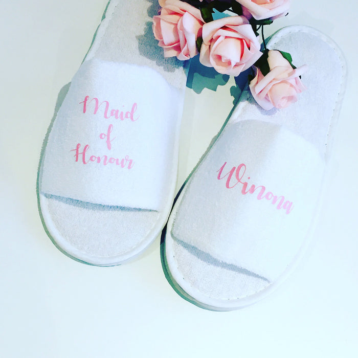 Personalised wedding slippers