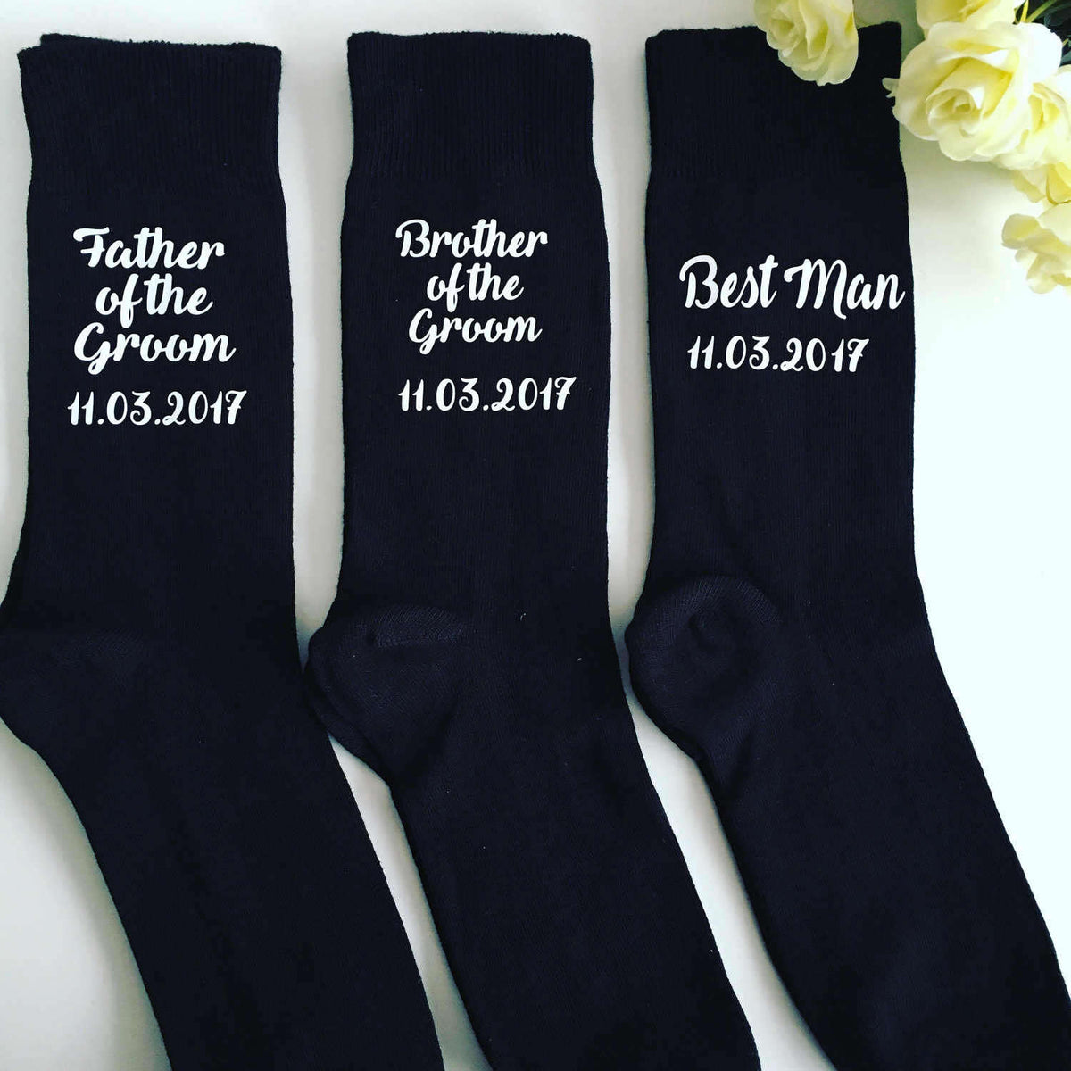 Personalised wedding socks for groomsmen