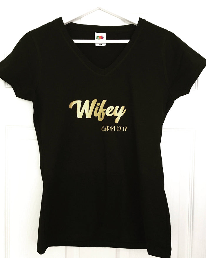 Wifey T-shirt with wedding date