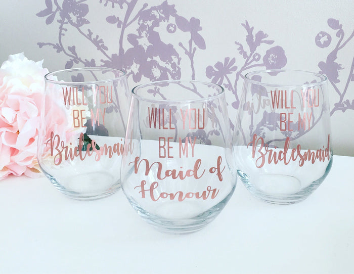 Will you be my bridesmaid wine glass