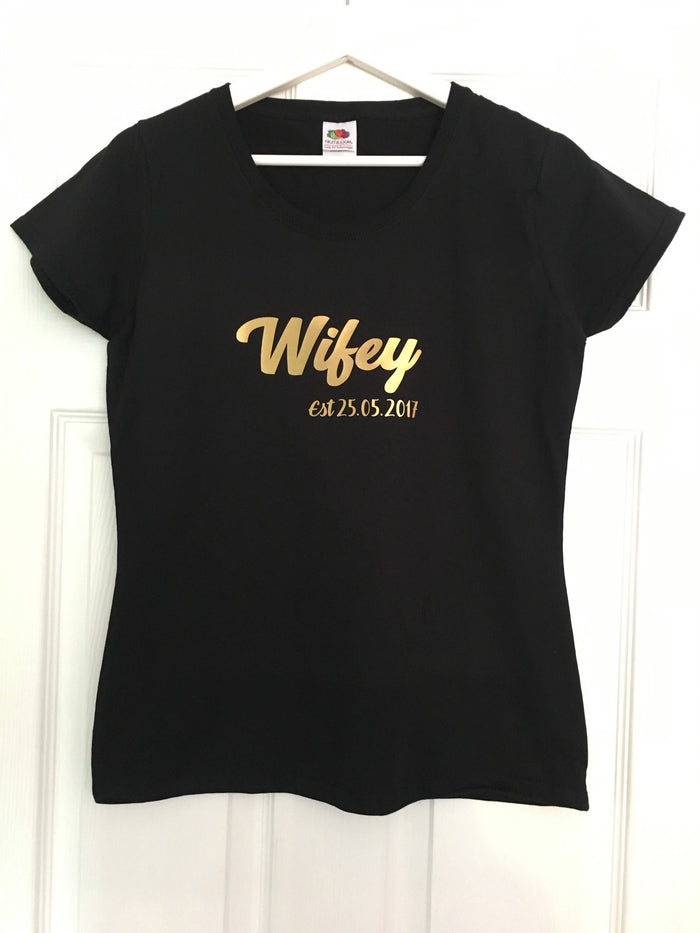 Wifey and Hubby set of T-shirts with wedding date The Bespoke Wedding Gift Company