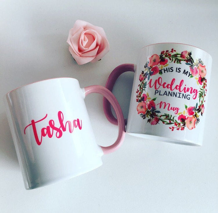 Wedding planning mug, personalised wedding planning mug, floral mug, floral wreath personalised mug, engagement mug, new mrs mug
