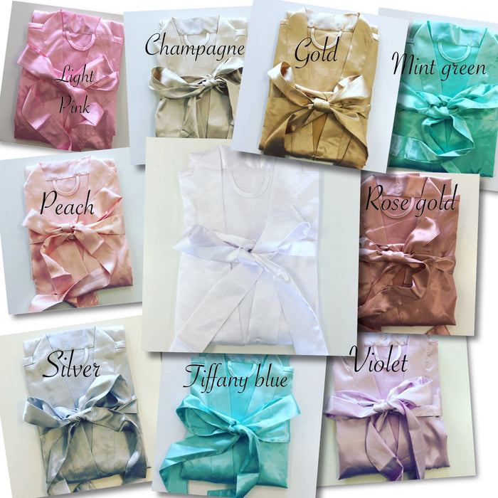 Solid Satin or Lace satin Robes Colour Chart