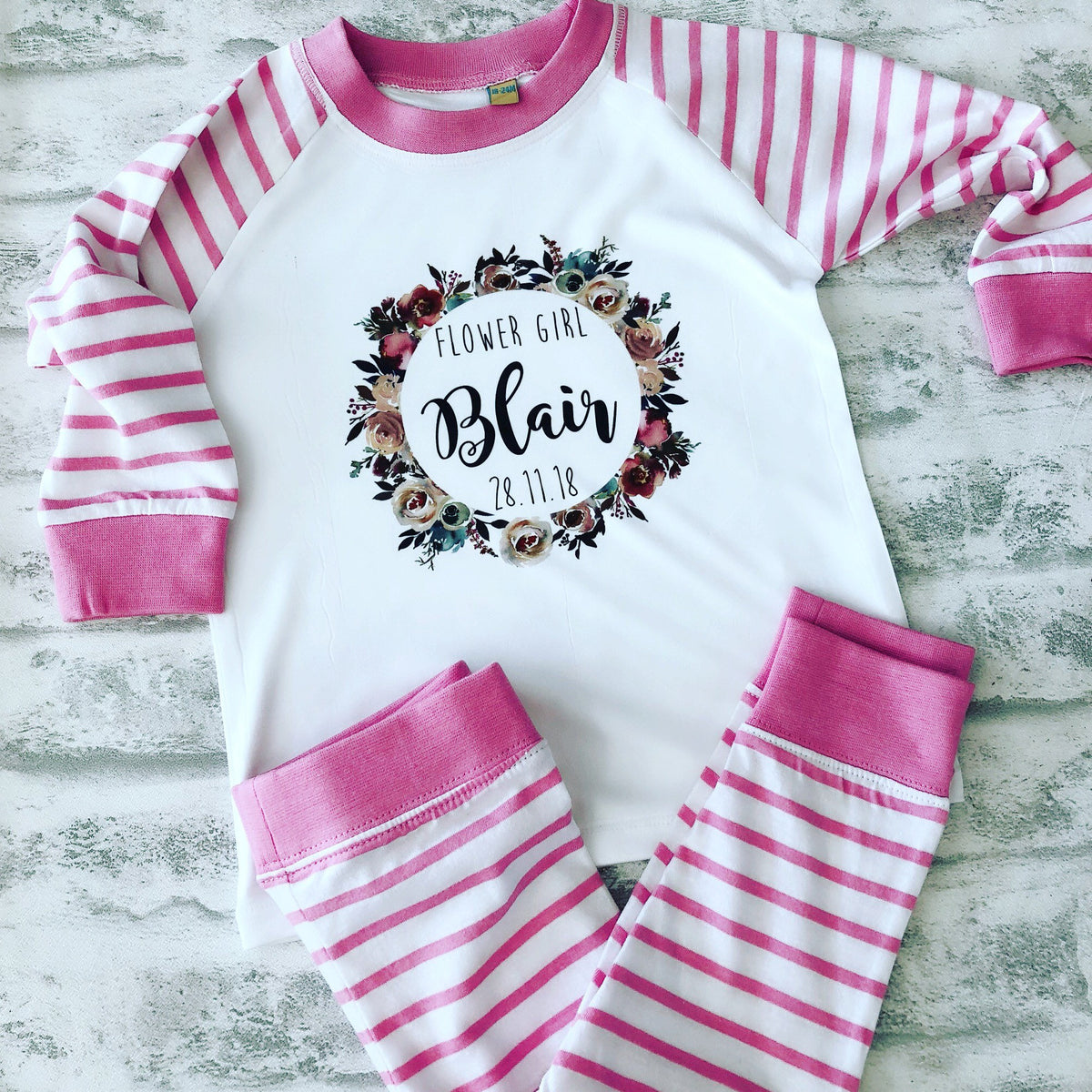 LACEY Personalised Flower Girl Pyjamas The Bespoke Wedding Gift Company