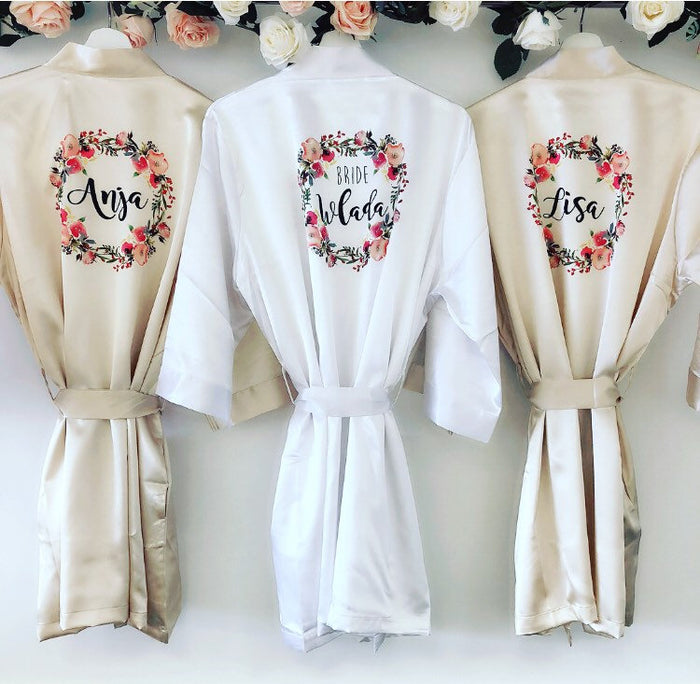 FLORENCE Satin robes with pink floral wreath