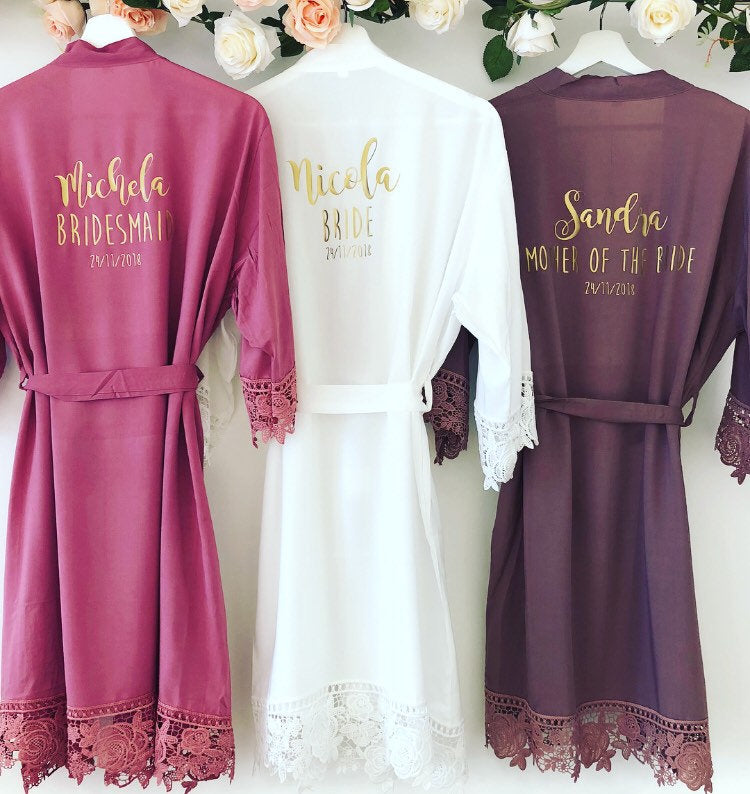 NON PERSONALISED GRACE Lace cotton bridal robes