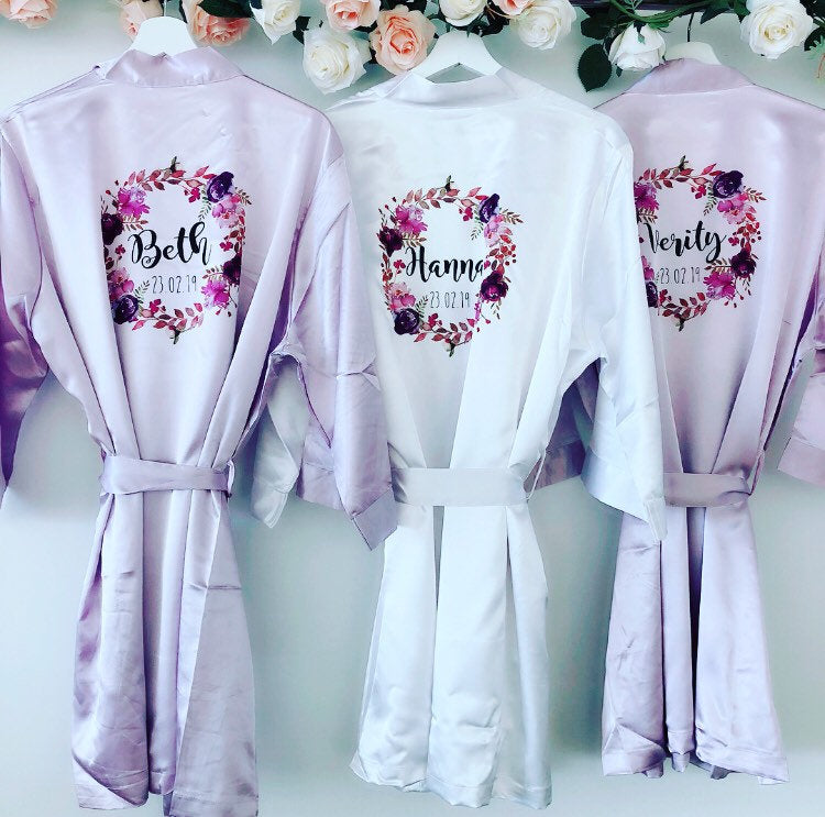 VIOLET bridal robes with purple wreath The Bespoke Wedding Gift Company