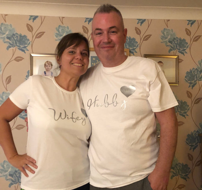 Hubby and Wifey matching pyjamas with heart and date details The Bespoke Wedding Gift Company