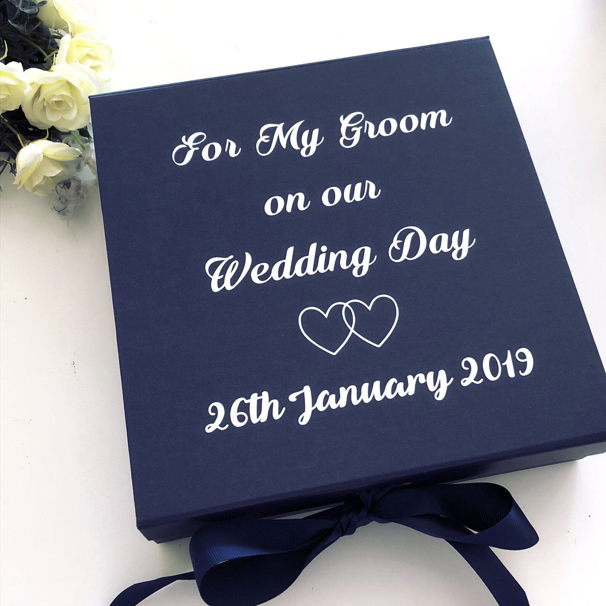 Navy Blue Groom Gift Box