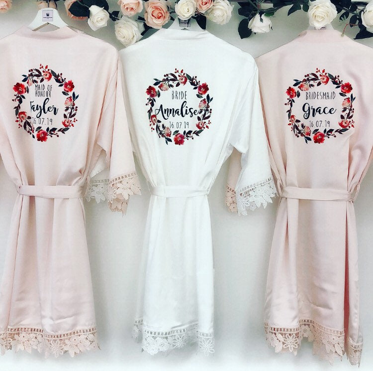 PEARL RUBY satin robes with lace The Bespoke Wedding Gift Company