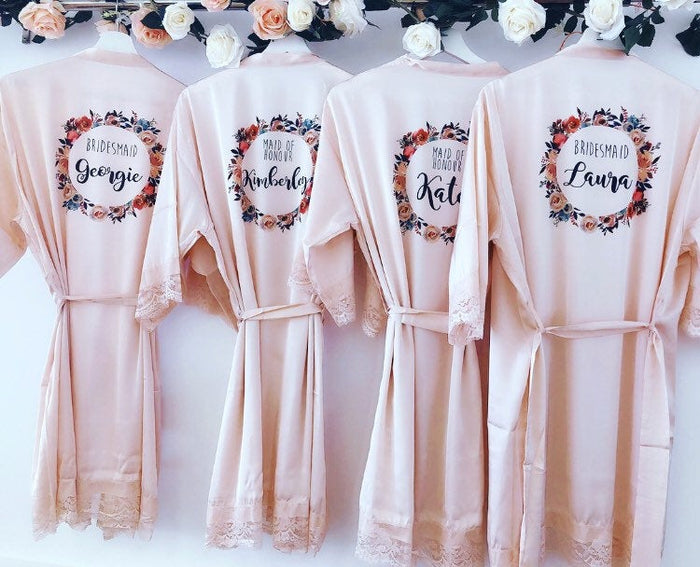 LACEY robes with delicate lace details
