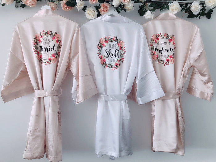 FLORENCE Satin robes with pink floral wreath The Bespoke Wedding Gift Company