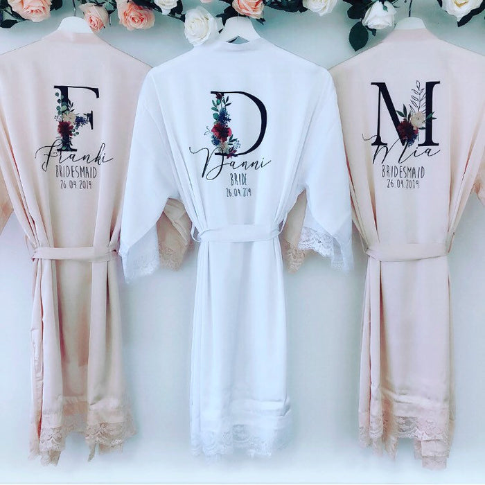 AMÉLIE Lace robes with floral initial The Bespoke Wedding Gift Company