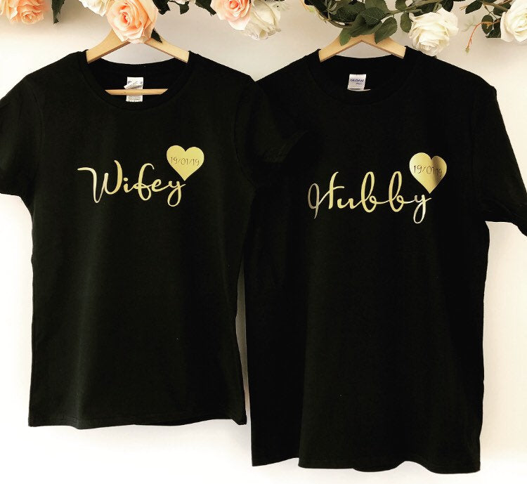 Hubby Wifey T-shirt Set The Bespoke Wedding Gift Company