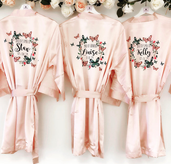 NOVA Satin robes with butterfly wreath The Bespoke Wedding Gift Company