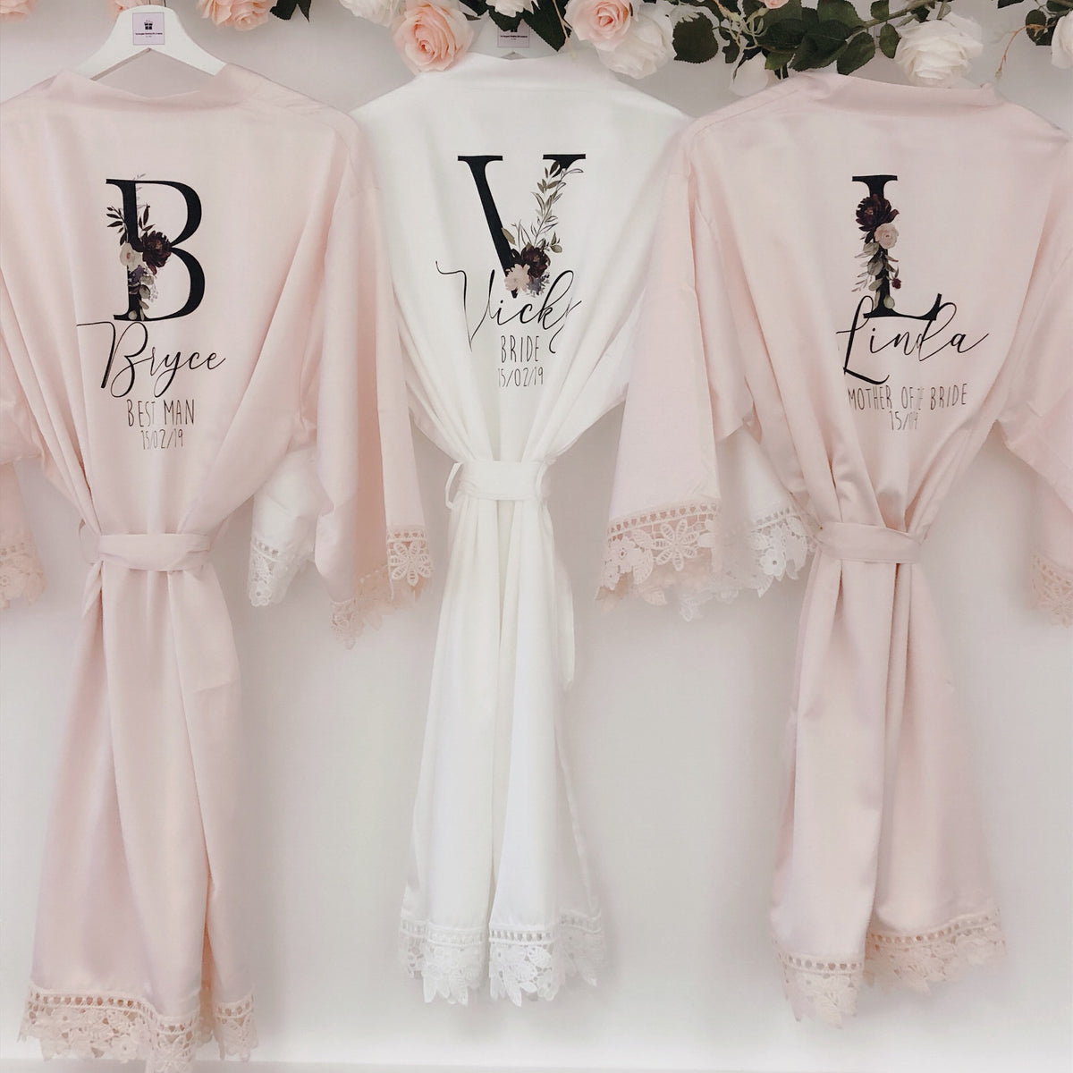 AMÉLIE PEARL robes with initials The Bespoke Wedding Gift Company