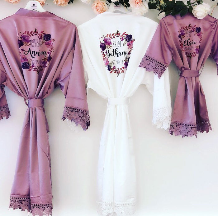 PEARL VIOLET lace robes with purple floral wreath