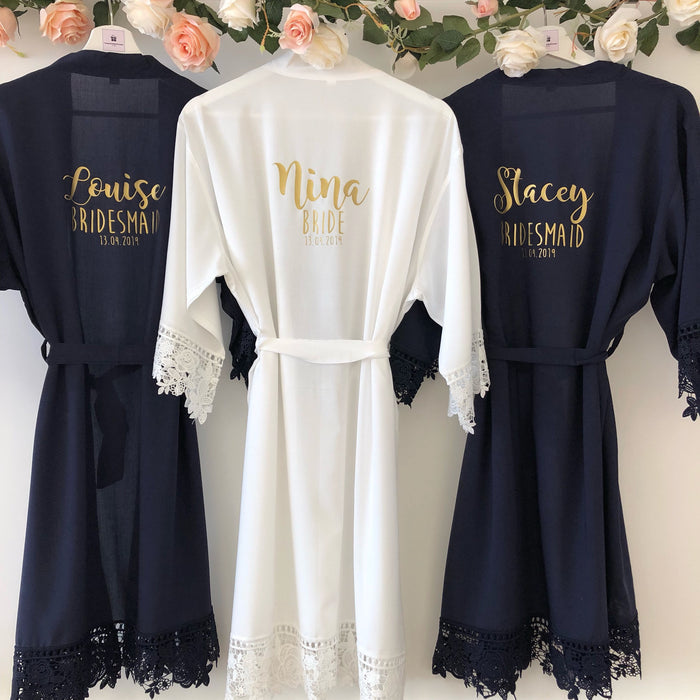 NON PERSONALISED GRACE Lace cotton bridal robes The Bespoke Wedding Gift Company