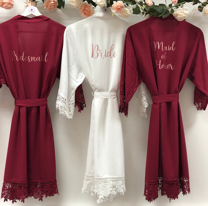 GRACE Lace cotton bridal robes