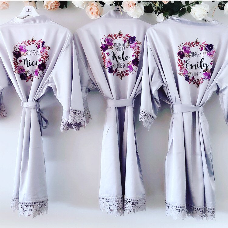 PEARL VIOLET lace robes with purple floral wreath The Bespoke Wedding Gift Company