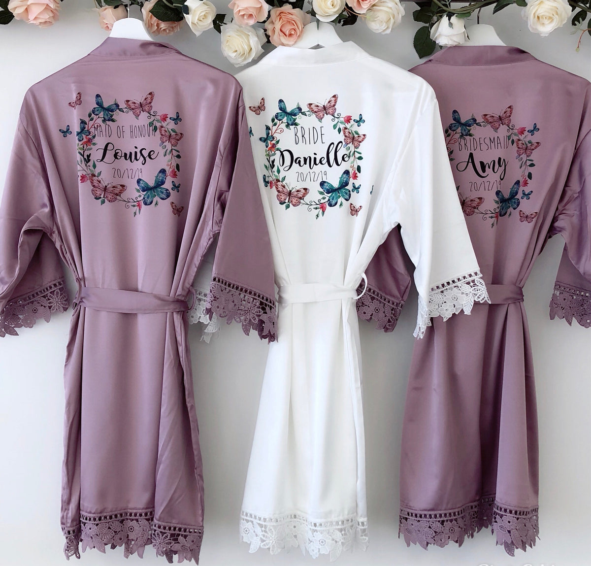 PEARL NOVA lace robes with butterfly wreath
