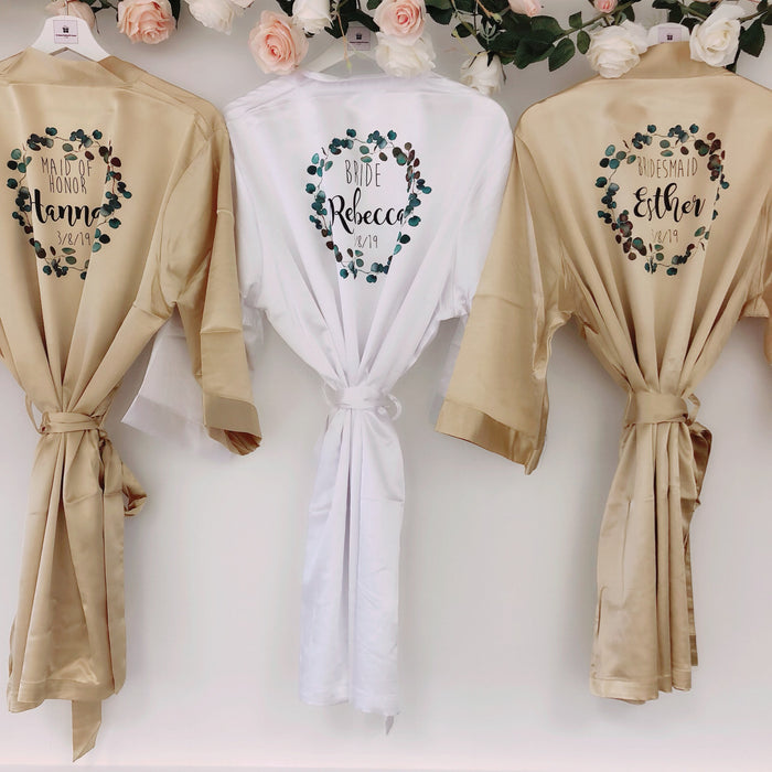 EMERALD Bridal robes with greenery design