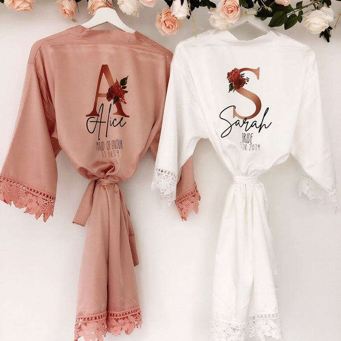 ALICE satin wedding robes with Rose Gold Initials The Bespoke Wedding Gift Company