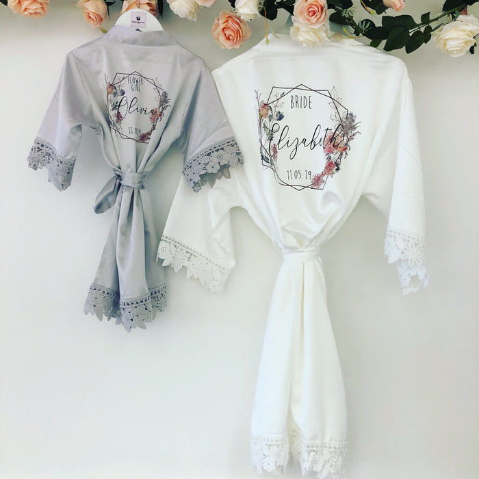 LISA robes with Geometric Floral Design The Bespoke Wedding Gift Company