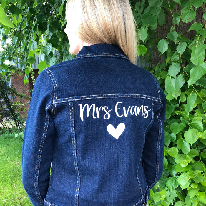 Personalised Bride Denim Jacket The Bespoke Wedding Gift Company