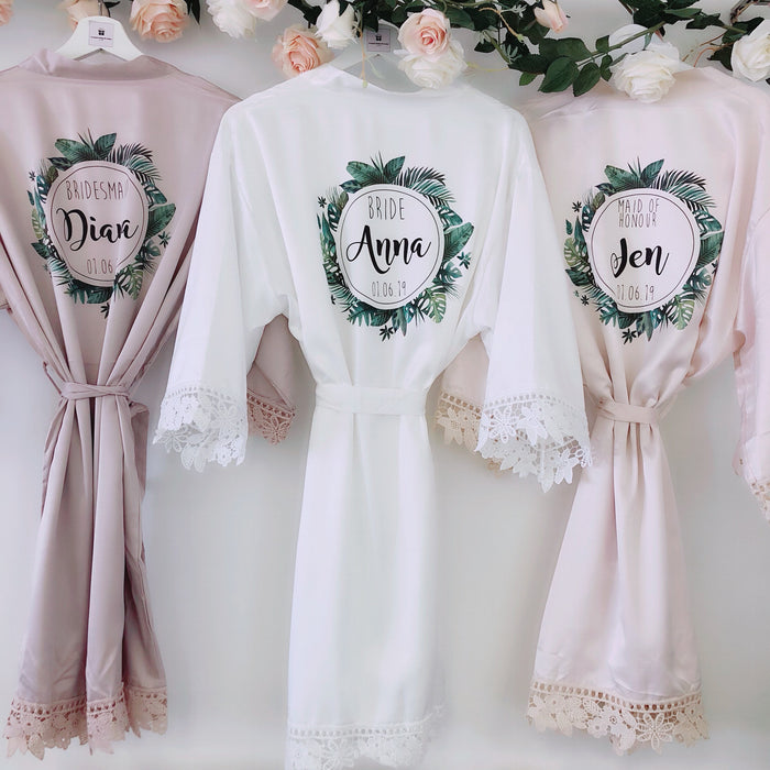 BALI tropical robes with palm leaf wreath The Bespoke Wedding Gift Company