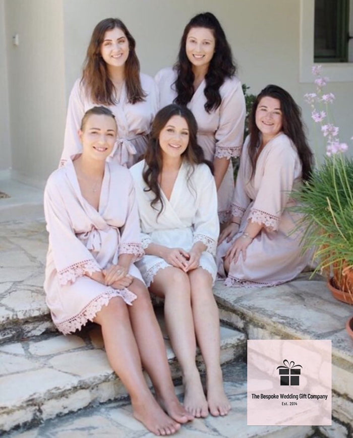 satin bridesmaid robe for your wedding NICOLE satin bridesmaid robe with greenery initials The Bespoke Wedding Gift Company