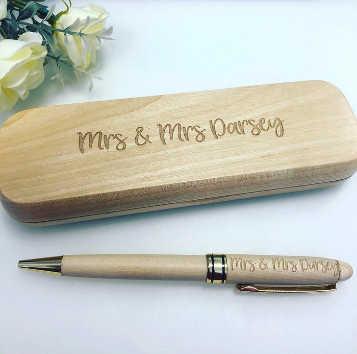 Mr and Mrs Wooden Engraved Pen