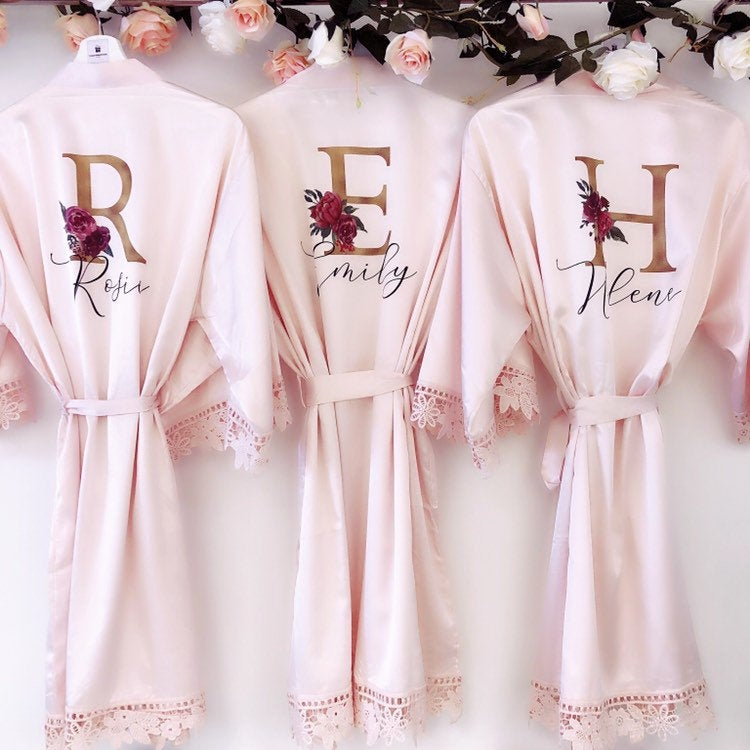 SUSIE bridal robes with GOLD initials The Bespoke Wedding Gift Company