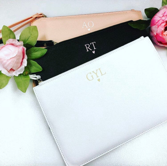DARCIE Personalised Clutch Bag with Initials The Bespoke Wedding Gift Company