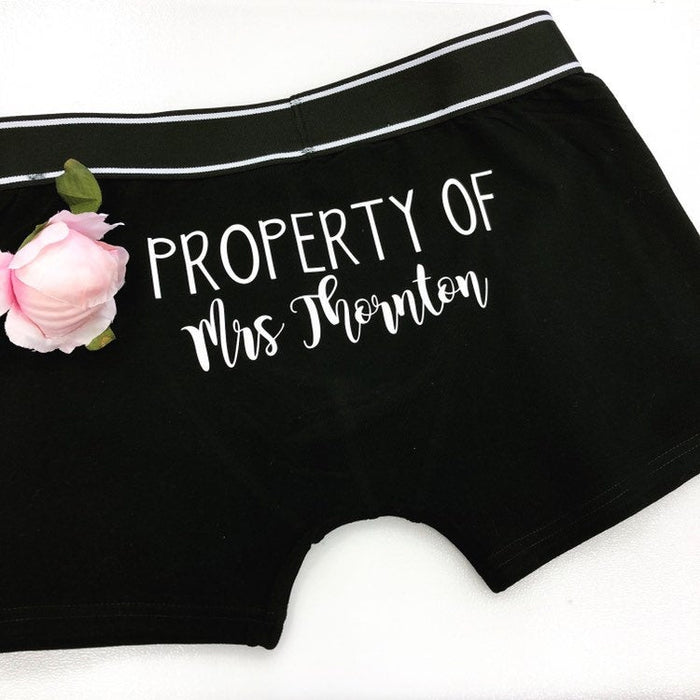 Personalised Property of Groom Boxer Shorts + Socks