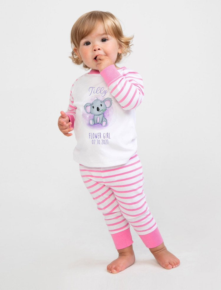 KOKO Flower Girl Pyjamas With Koala Design The Bespoke Wedding Gift Company