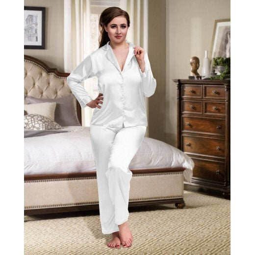AVA Long Sleeve+Long Trousers Satin Pyjamas Sets without piping