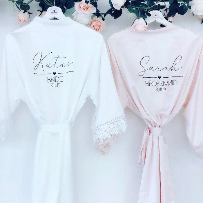 EMILY satin and lace robes with script and heart motif