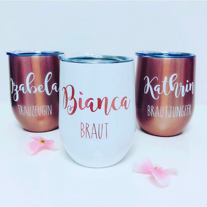 Personalised Stainless Steel Wine Cups with name and role