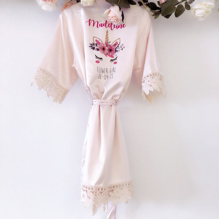 UNICORN children's satin and lace bridal robes