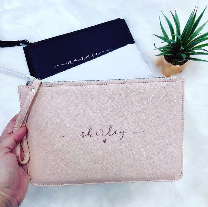 NAOMI Personalised Clutch Bag with script name