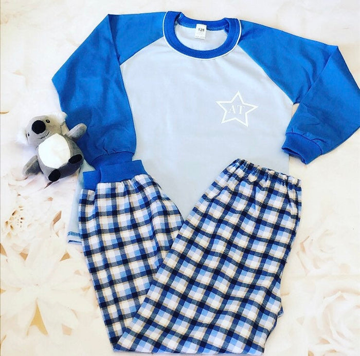 Personalised Initials Pyjamas for Kids, Monogram Pyjamas for Boys and Girls