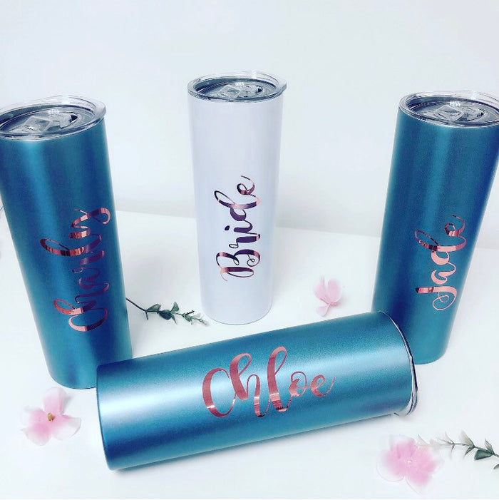 Personalised Skinny Tumbler With Straw