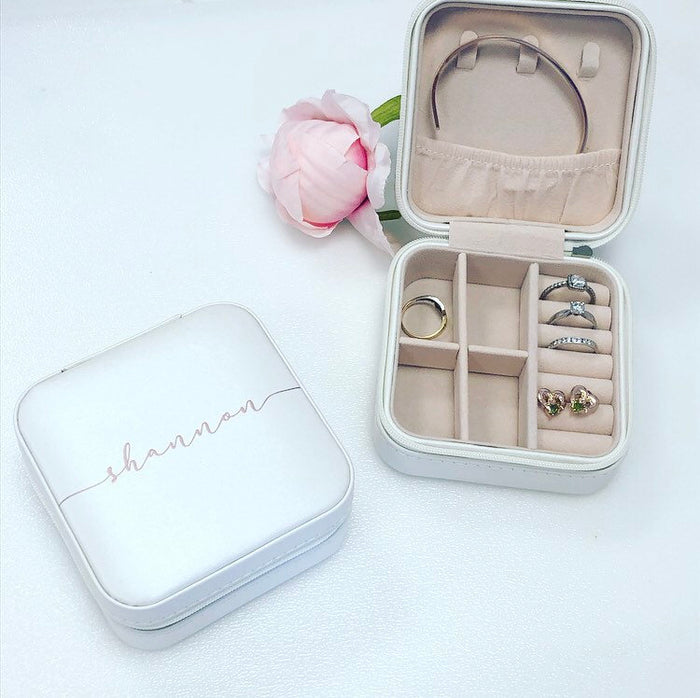 NAOMI Personalised Travel Jewellery Box The Bespoke Wedding Gift Company