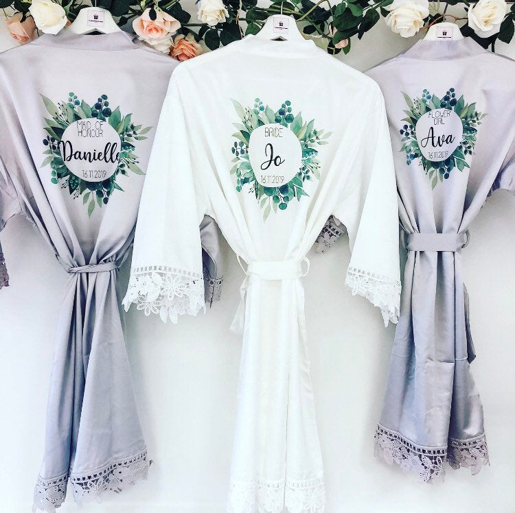 AVA greenery wedding robes The Bespoke Wedding Gift Company