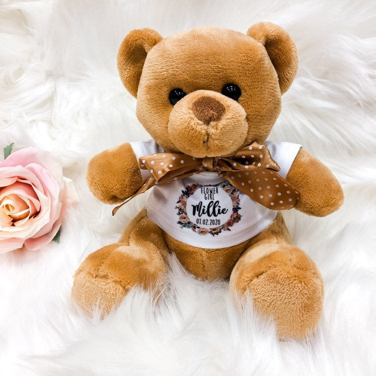 LACEY Flower Girl Teddy Bear The Bespoke Wedding Gift Company