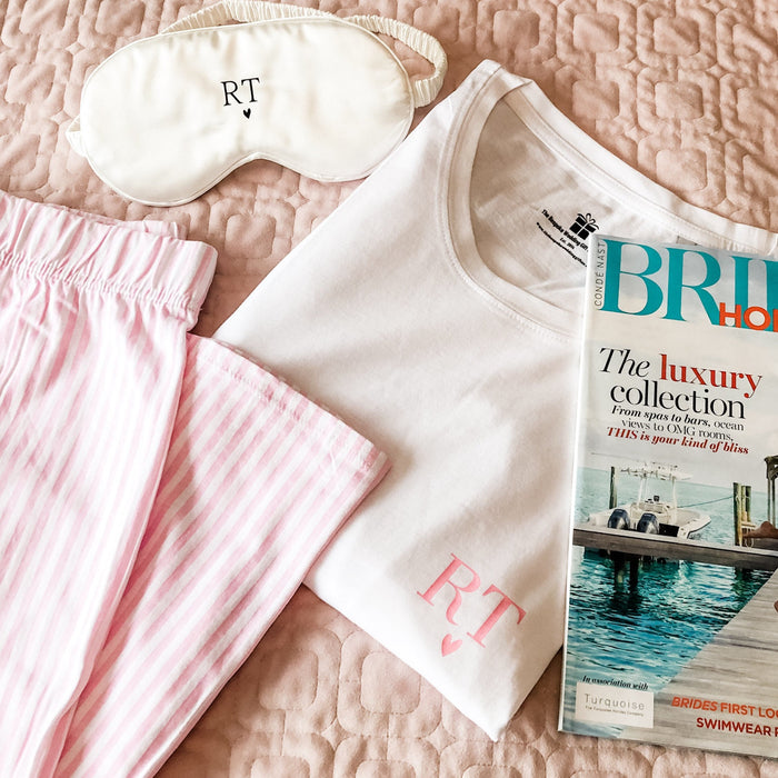 ELSIE Cotton Short sleeve + Long bottom custom monogram pyjamas The Bespoke Wedding Gift Company