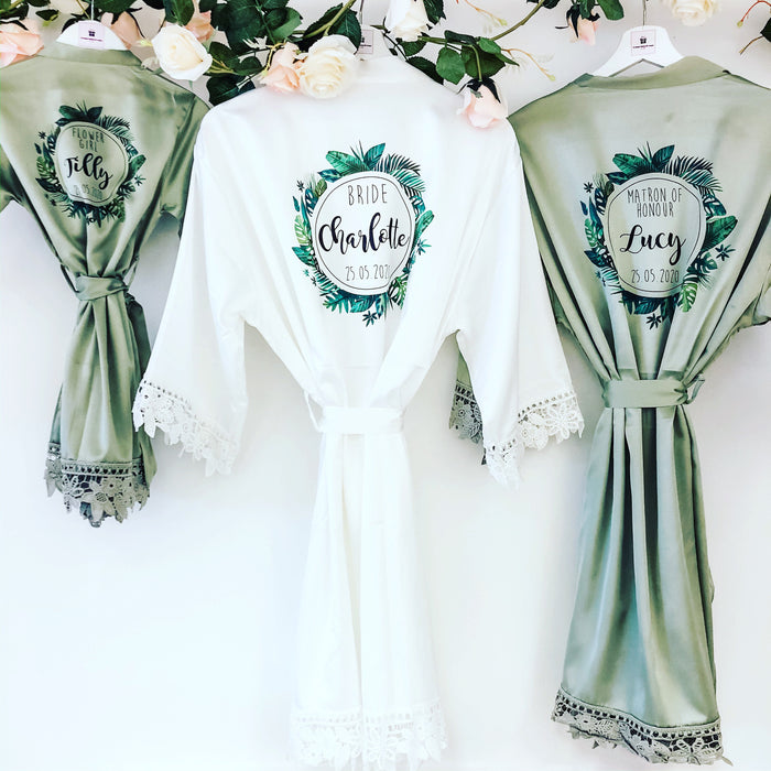 BALI tropical robes with palm leaf wreath